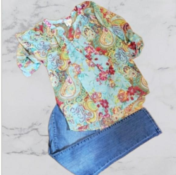 Anthropologie shear paisley blouse size sma